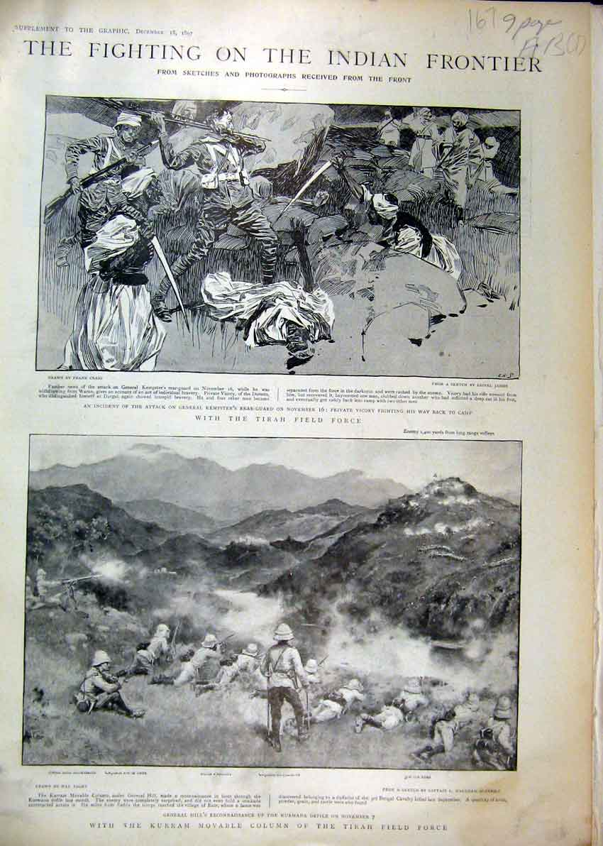 Print 1897 Fighting Indian Frontier Kurram Tirah Field Force 67Mar1 Old Original