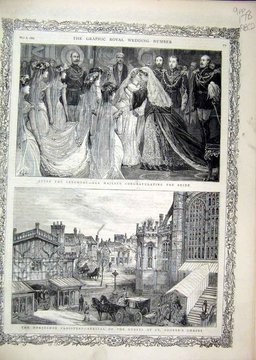 Print 1882 Royal Wedding Georges Chapel Illuminations Windsor 78Mar1 Old Original