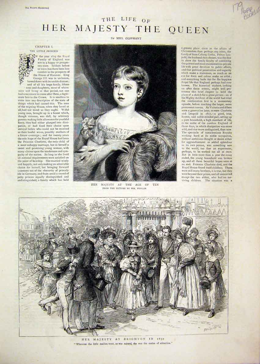 Print 1880 Life Majesty Queen Sacrament Coronation Abbey 79Mar1 Old Original