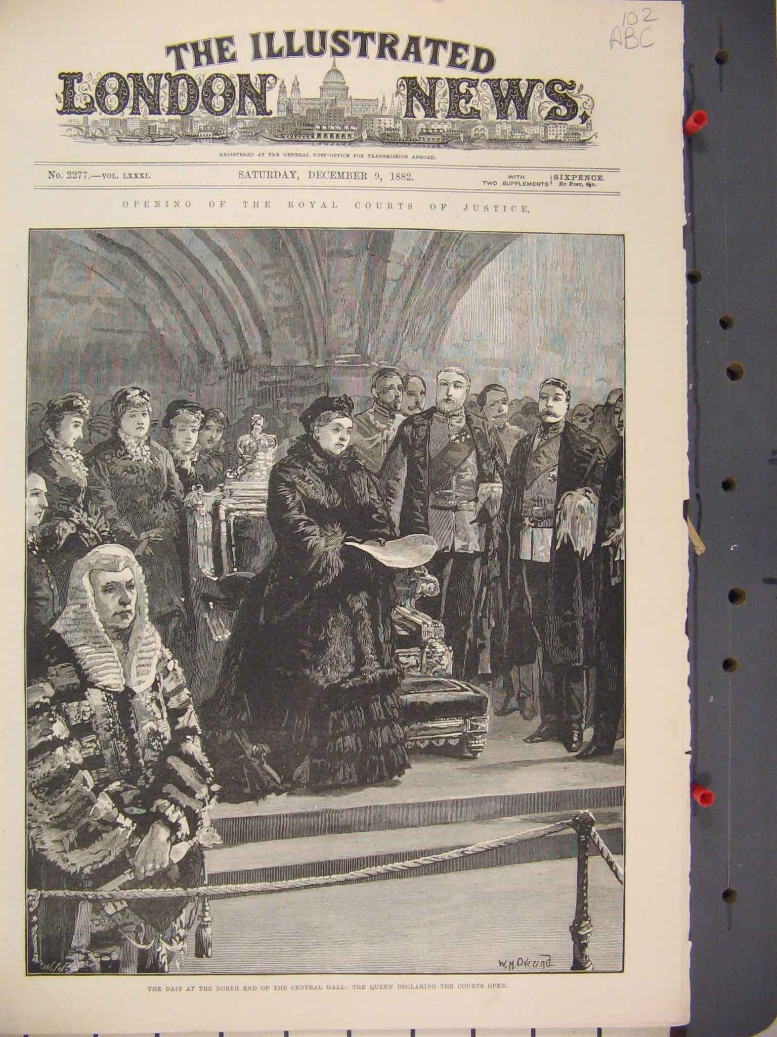 Print Royal Court Justice 1882 Queen Central Hall Westminster 02Mar1 Old Original