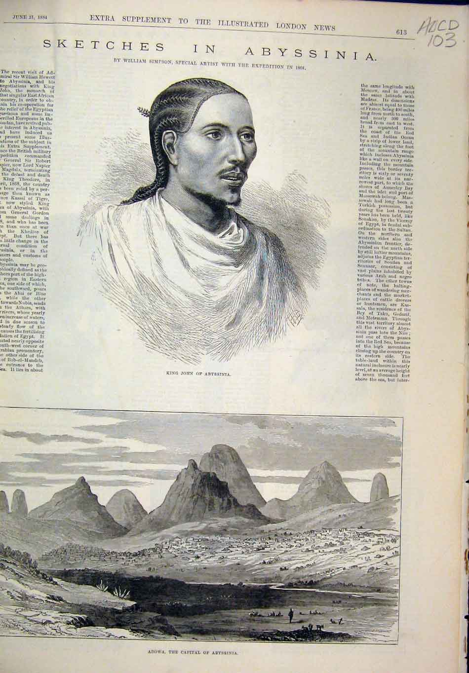 Print 1884 King John Abbyssinia Adowa Church Shield Sword 03Mar1 Old Original