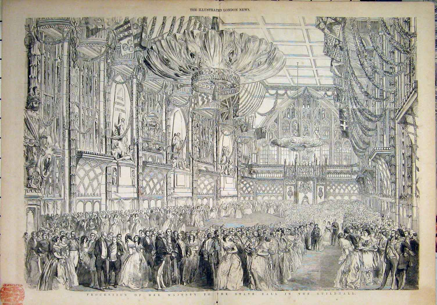 Print 1851 Queen Visit London Guildhall State Ball Throne 06Mar1 Old Original