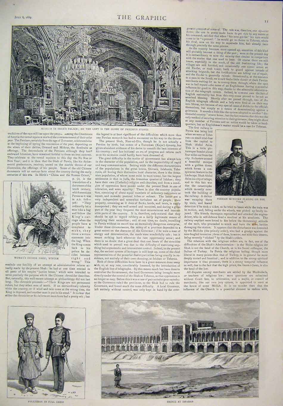 Print 1889 Shah Persian House General Bridge Isfahan Palace 19Mar1 Old Original