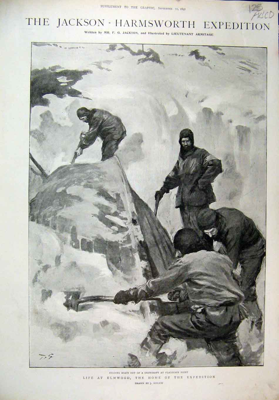 Print 1897 Jackson Expedition Elmwood Polar Bear Sledge Snow 25Mar1 Old Original