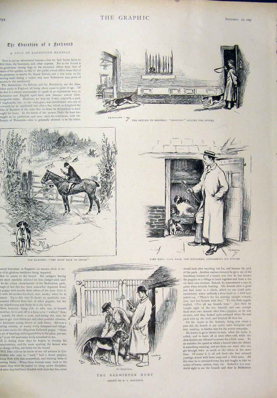 Print 1897 Badminton Hunt Kennels Cub Hounds Furnivals Inn 27Mar1 Old Original