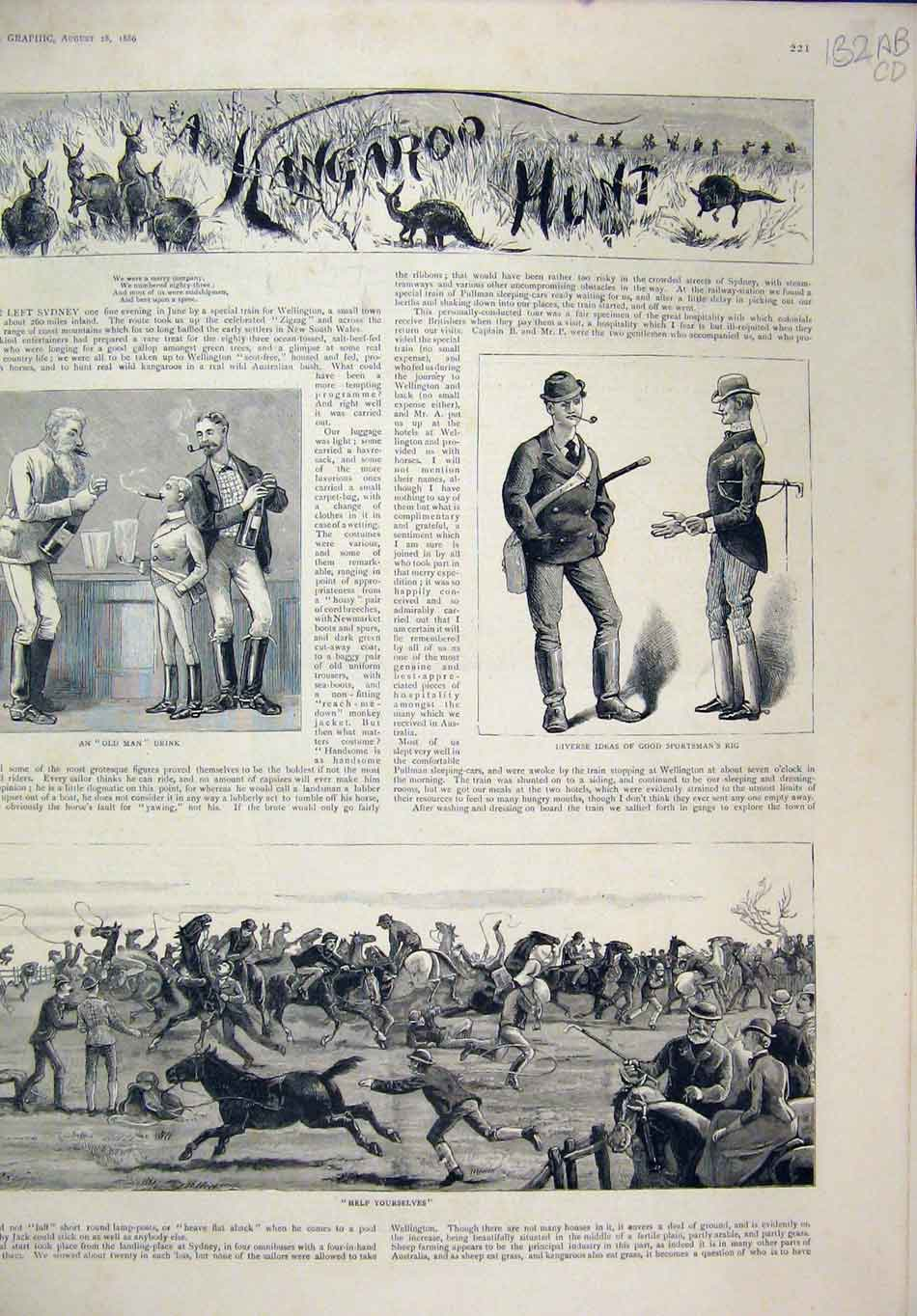 Print Kangaroo Hunt 1886 Horses Children Australia Music 32Mar1 Old Original