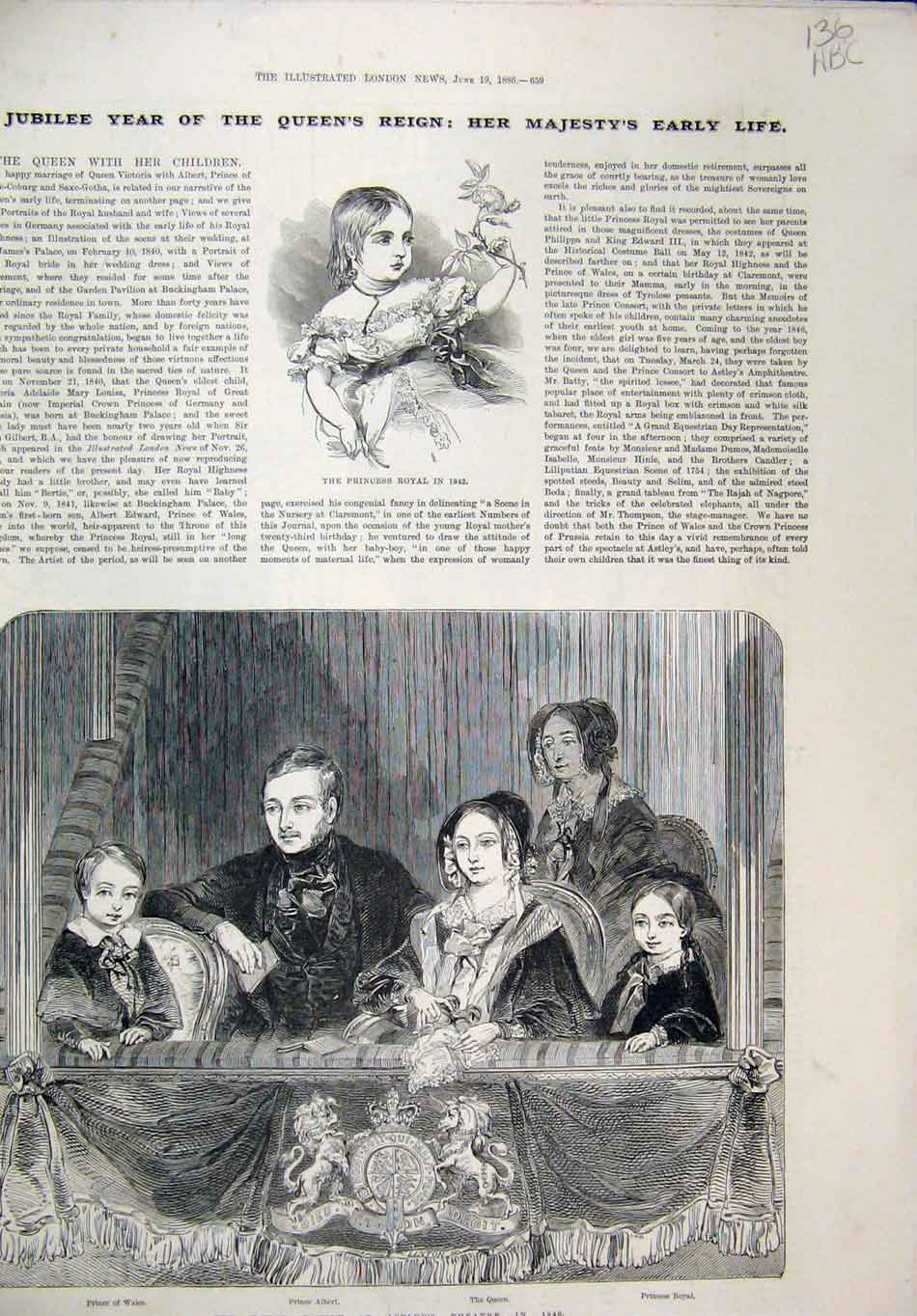 Print 1886 Jubilee Royal Family Astley Theatre Early Life 36Mar1 Old Original
