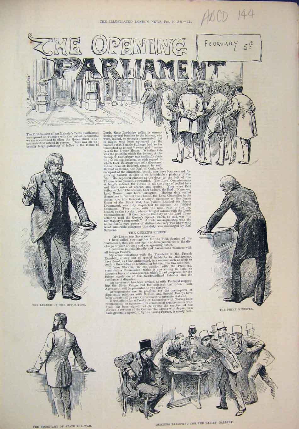 Print Parliament 1884 Prime Minister Speaker Lord Mayor War 44Mar1 Old Original