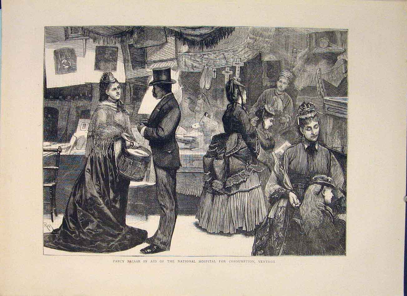 [Print Fancy Bazaar National Hospital Consumption Ventnor 1871 06Mbb0 Old Original]