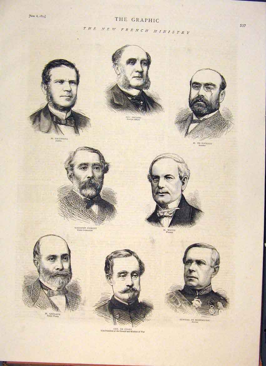[Print Portraits War Minister French Minister 1874 37Mbb0 Old Original]