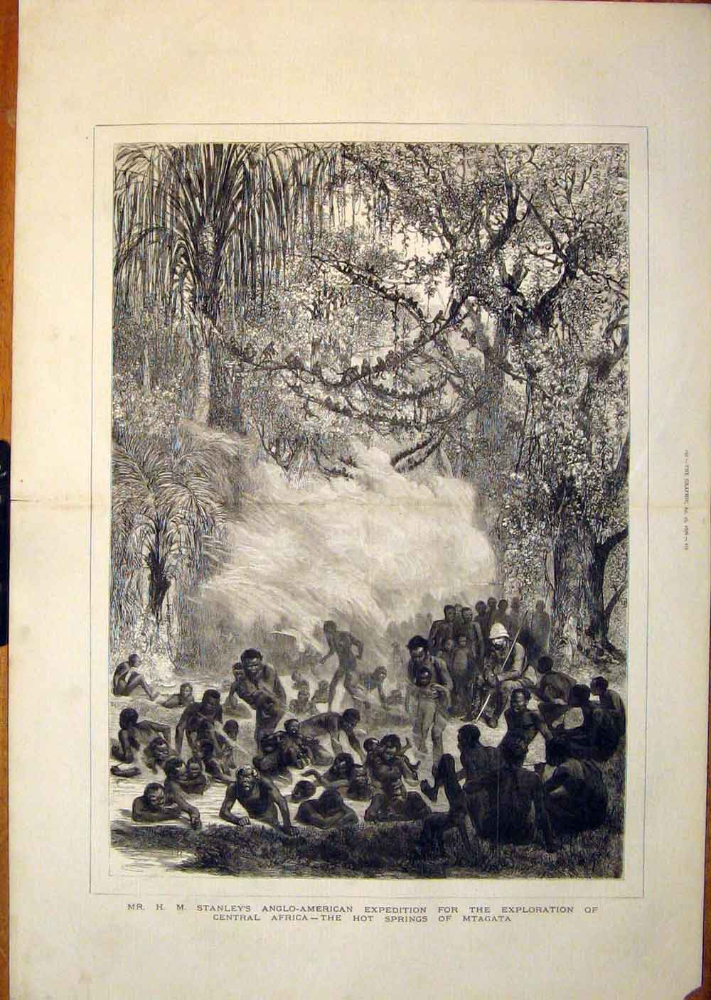 [Print Stanley Expedition Africa Mtagata Hot Springs 1878 59Tmbb0 Old Original]