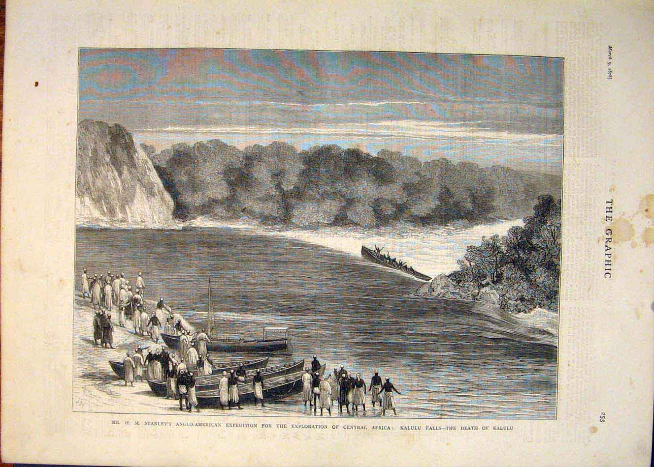 [Print Stanley Anglo-American Expedition Africa Kalulu Falls 53Mbb0 Old Original]
