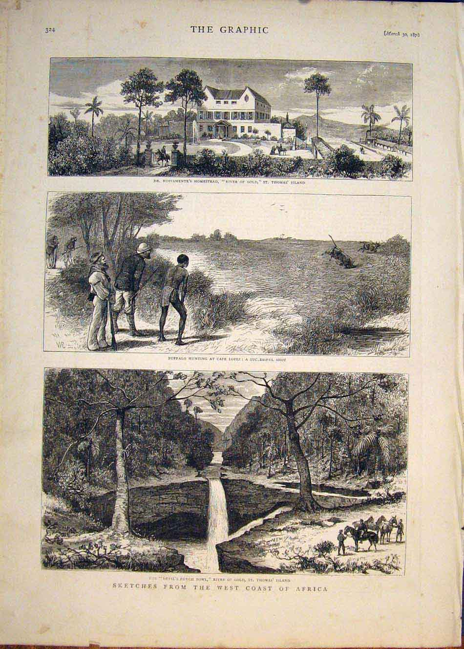 [Print Sketches West Coast Africa Hunting St Thomas' Island 24Mbb0 Old Original]