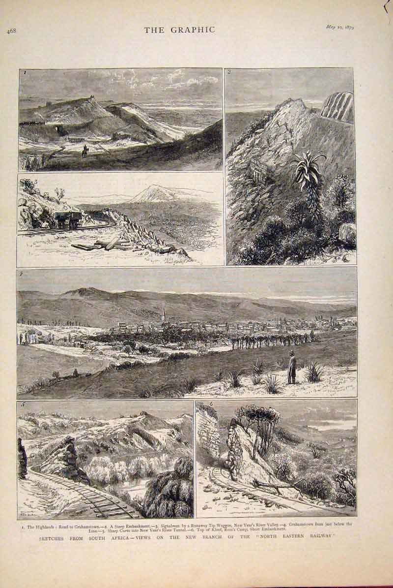 [Print South Africa Railway Sketches Grahamstown 1879 68Mbb0 Old Original]