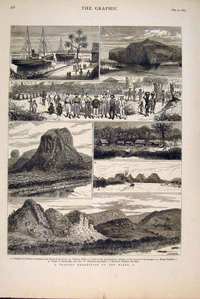 [Print Niger Africa Trading Expedition River 1879 36Mbb0 Old Original]