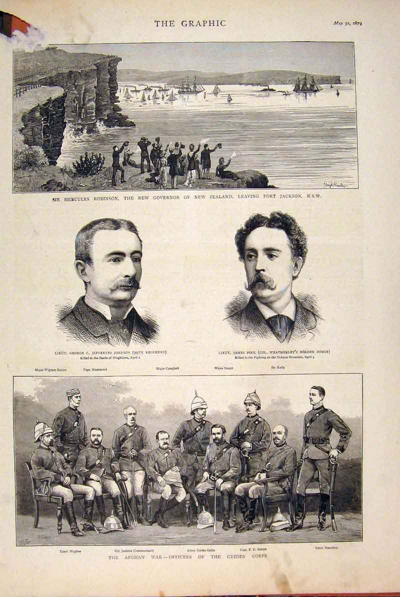 [Print Johnson Pool Africa Afghan War Officers New Zealand 04Mbb0 Old Original]