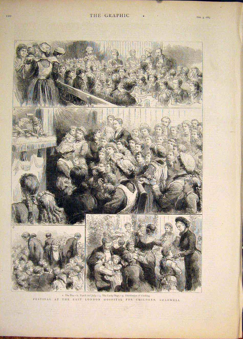 [Print Festival London Hospital Children Shadwell 1883 20Mbb0 Old Original]