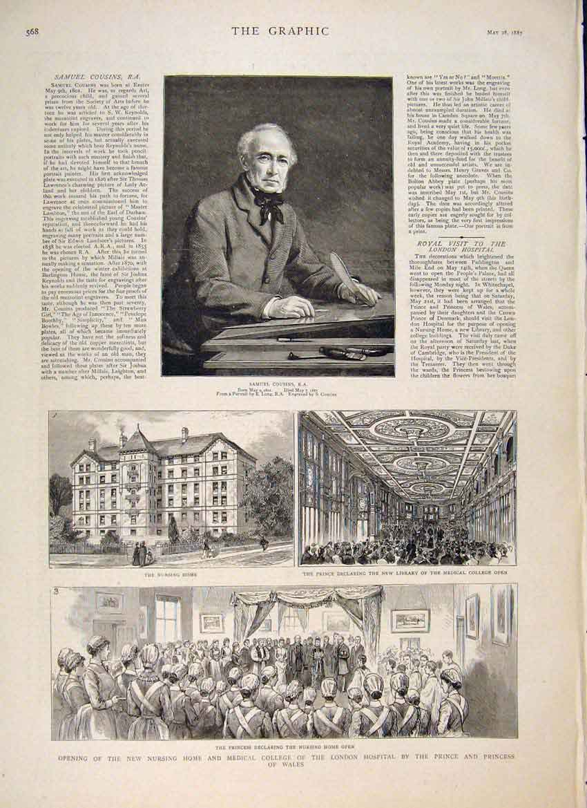 [Print Cousins Portrait Artist Medical College Hospital London 68Mbb0 Old Original]