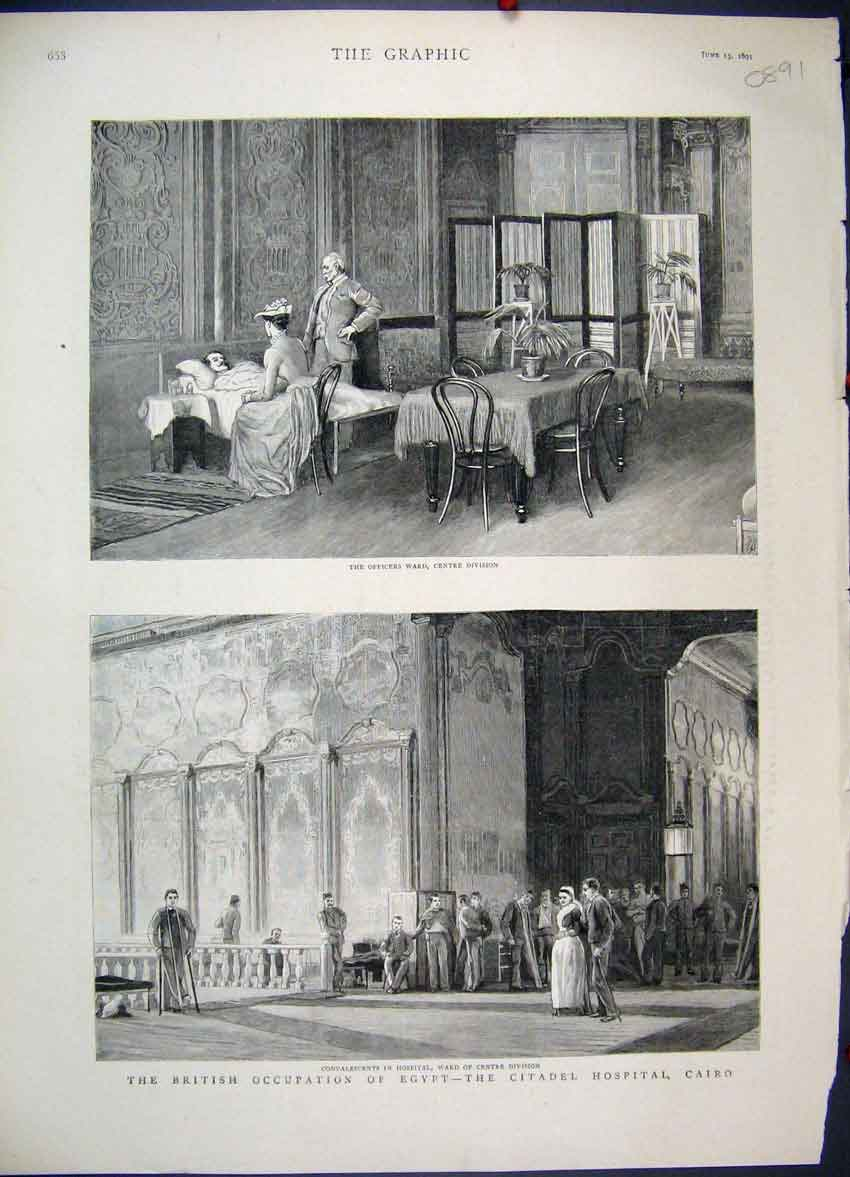 [Print Ficer Ward Citadel Hospital British Egypt Cairo 1891 68Mbb0 Old Original]