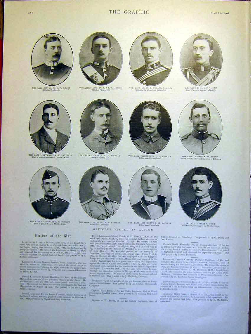 [Print Portrait Victims Boer War Africa Killed Officers 1900 12Mbb0 Old Original]