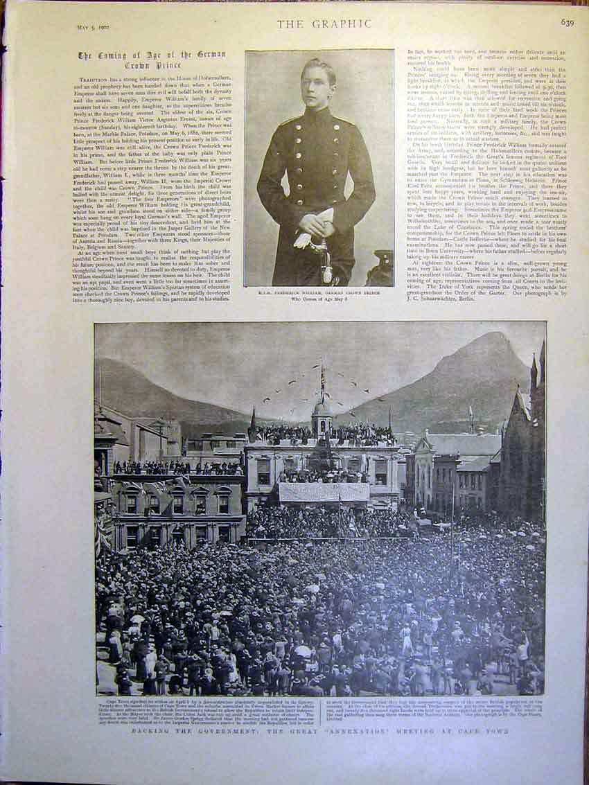 [Print Prince William Germany Annexation Cape Town Africa 1900 39Mbb0 Old Original]