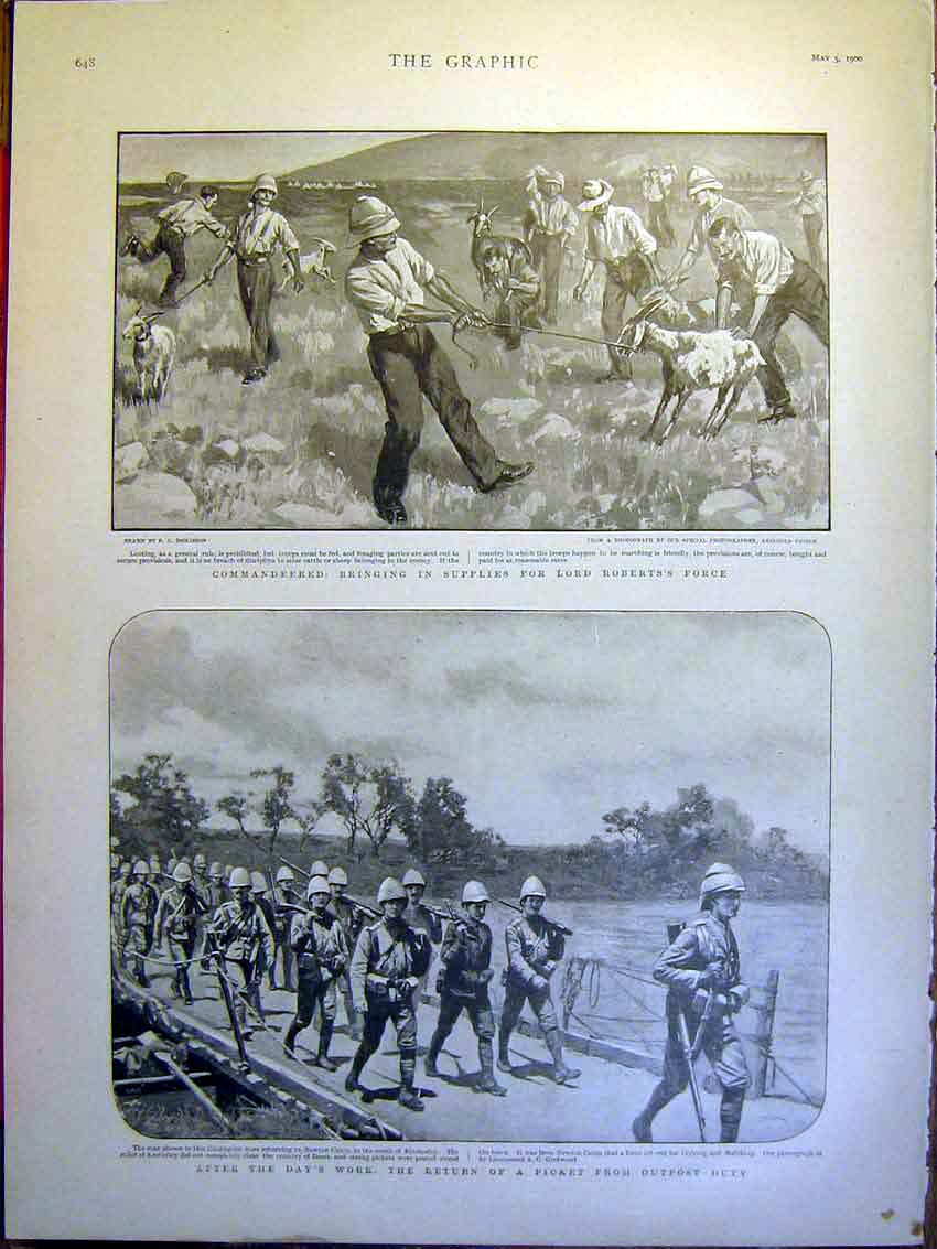 [Print Roberts Boer War Africa Soldiers Newton Camp 1900 48Mbb0 Old Original]