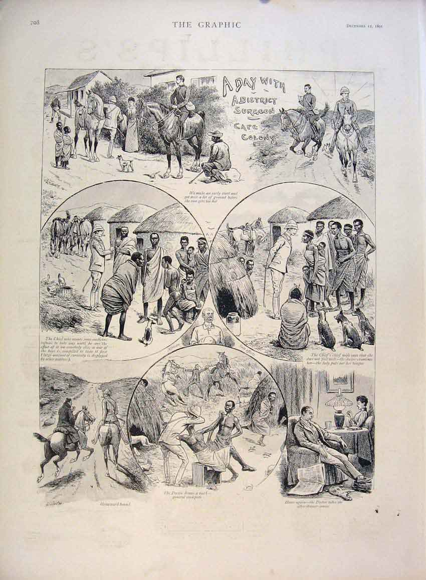 [Print District Surgeon Sketch Cape Colony Africa Doctor 1891 08Mbb1 Old Original]