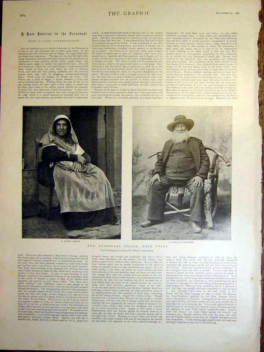 [Print Transvaal Boer War Africa Dutch Vrouw Burgher 1899 64Mbb1 Old Original]