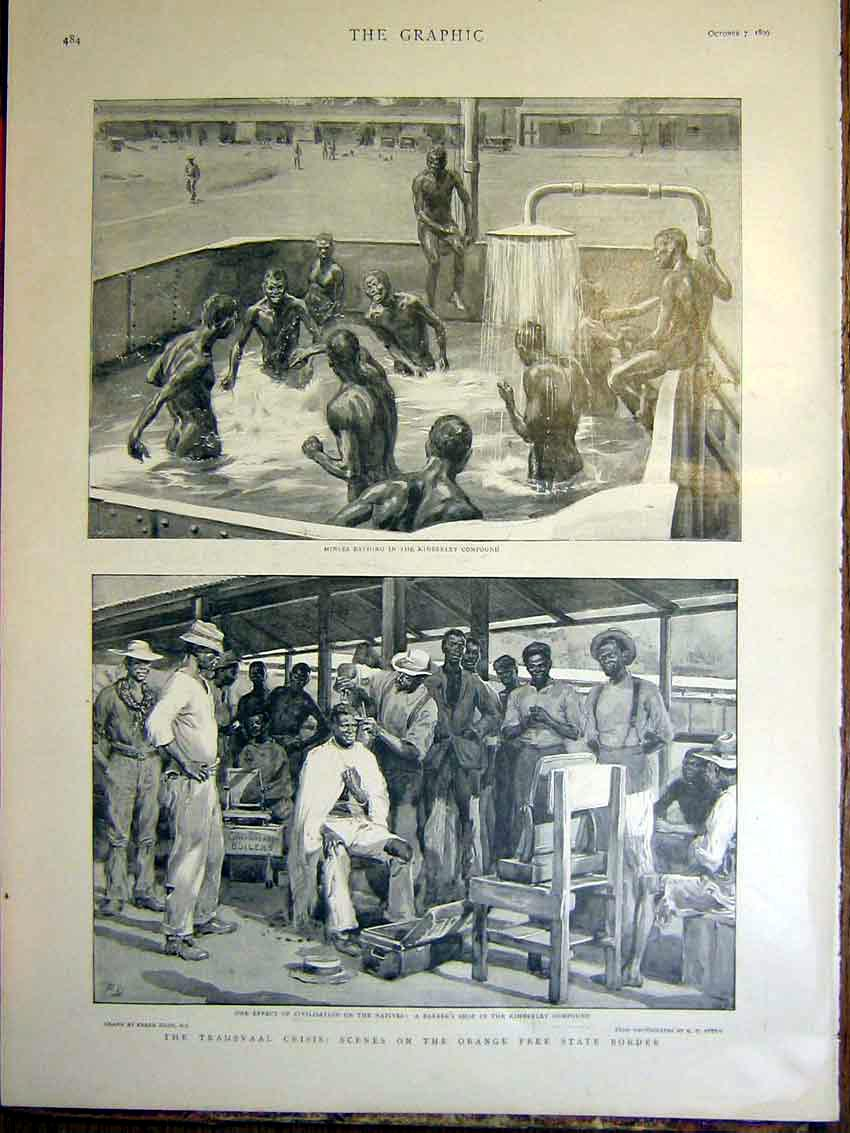 [Print Miners Kimberley Bathing Transvaal Crisis Africa War 84Mbb1 Old Original]