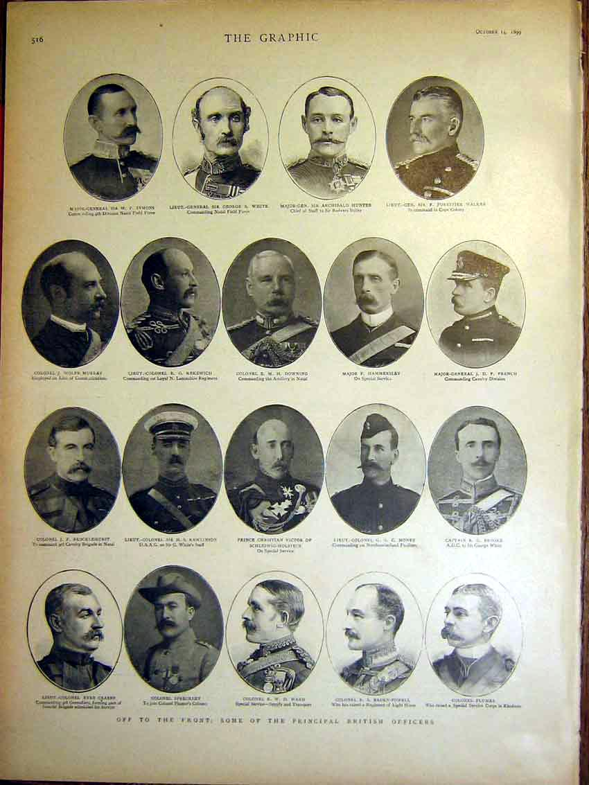 [Print Portrait British Officers Boer War Africa 1899 16Mbb1 Old Original]