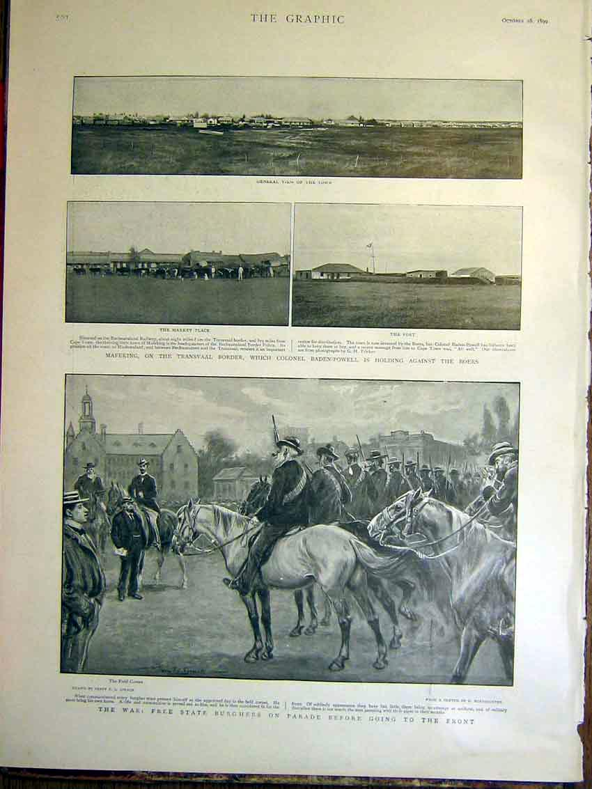 [Print Mafeking Baden-Powell Boer War Africa Burghers Parade 93Mbb1 Old Original]