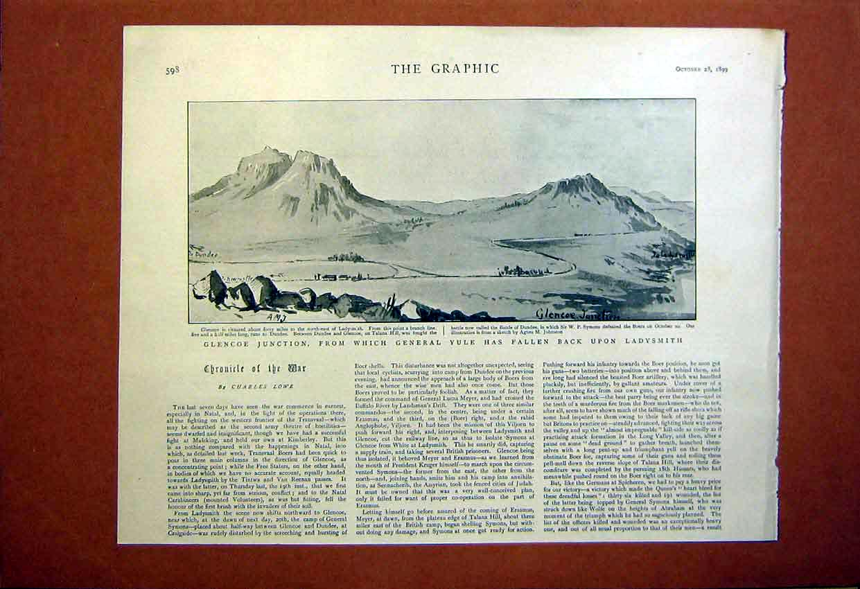 [Print Glencoe Junction Yule Ladysmith Boer War Africa 1899 98Umbb1 Old Original]