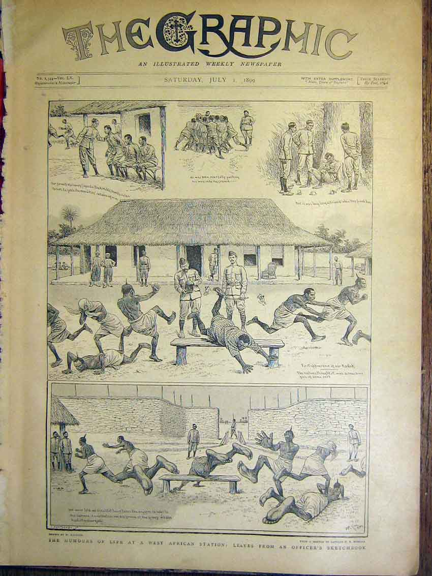 [Print West African Station Officers Sketches Africa 1899 02Mbb1 Old Original]