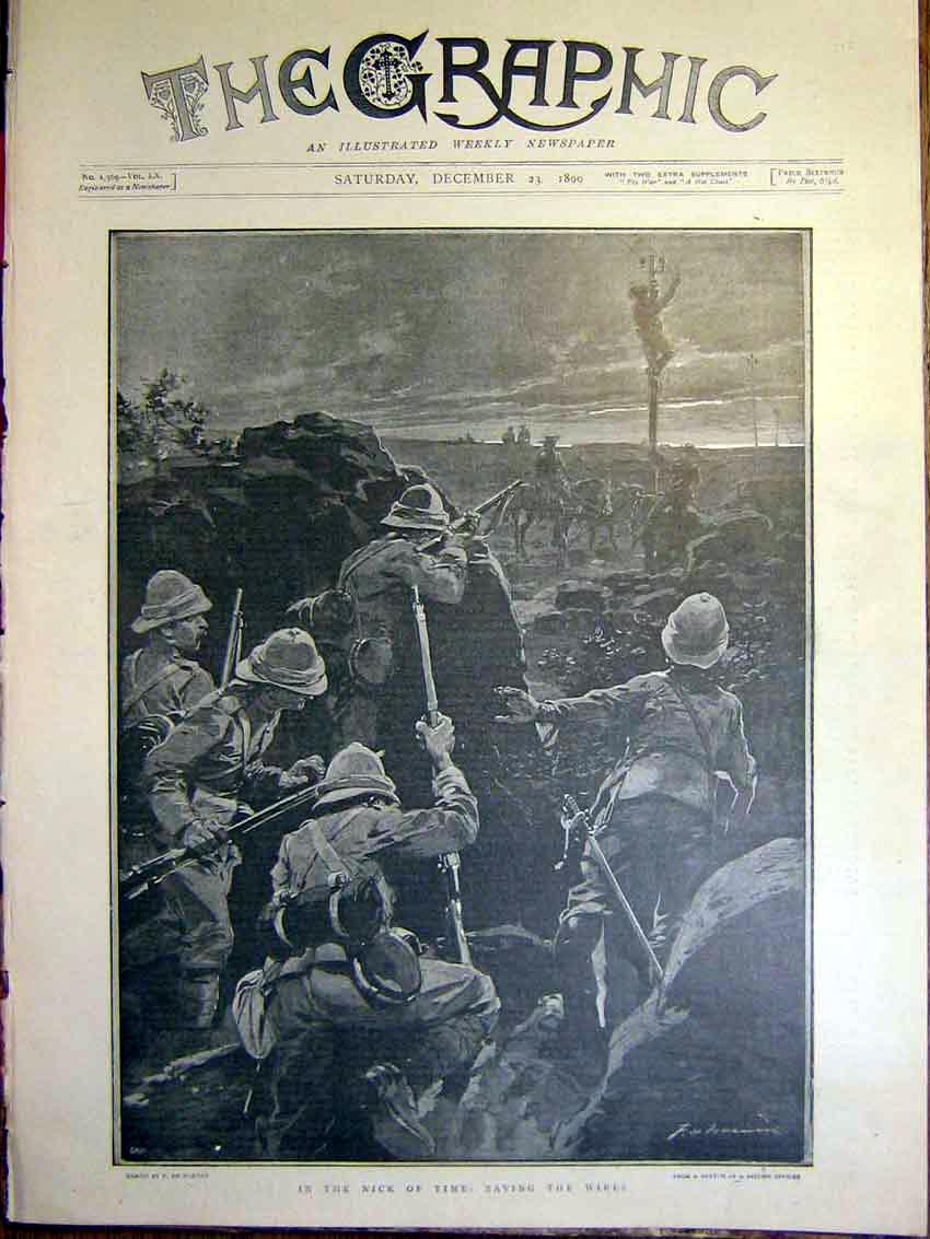 [Print Telegraph Wires Boer War Africa De Haenen Troops 1899 42Mbb1 Old Original]