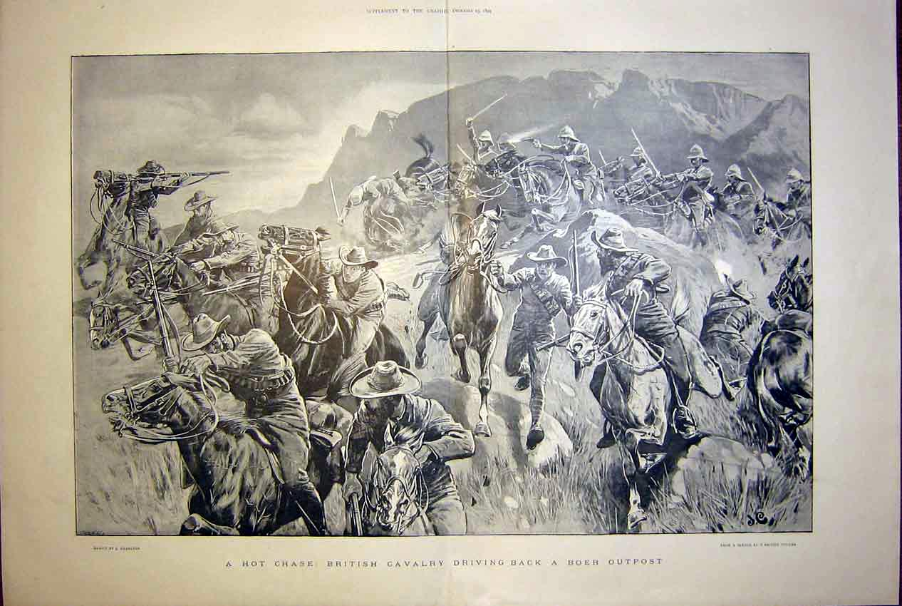 [Print Charlton British Cavalry Boer Outpost War Africa 1899 01Tmbb1 Old Original]