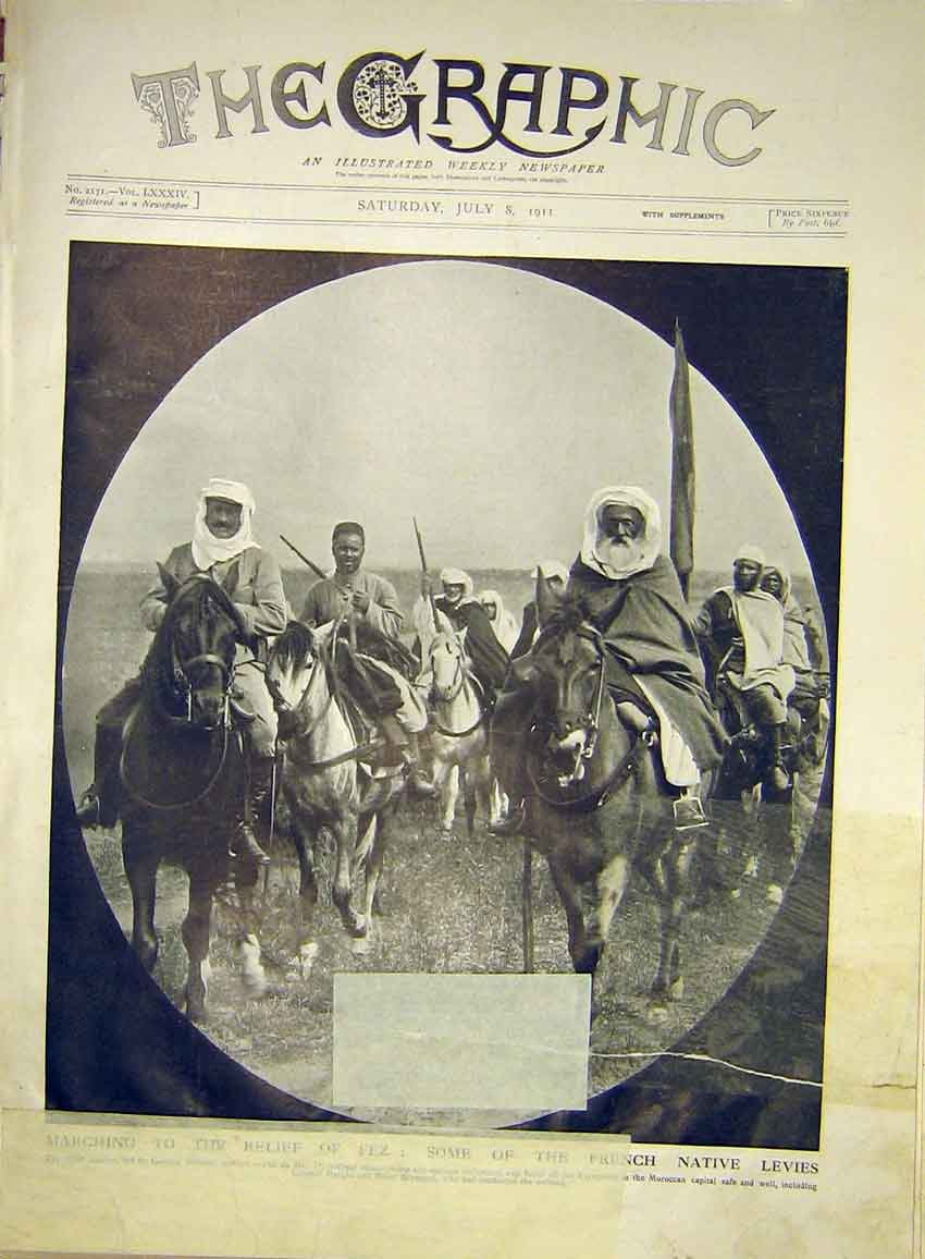 [Print Fez French Native Levies Relief War Morocco 1911 58Mbb1 Old Original]