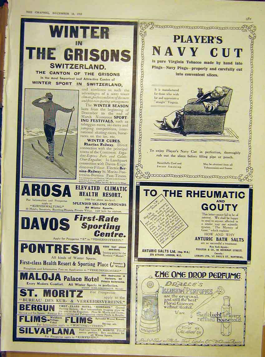 Print Advert Grisons Switzerland Player'S Anturic Dralle'S 81Mbb1 Old Original