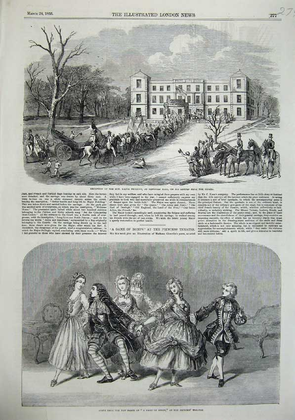 [Print 1855 Game Romps Princess Theatre Newham Hall Crimea War 279N102 Old Original]