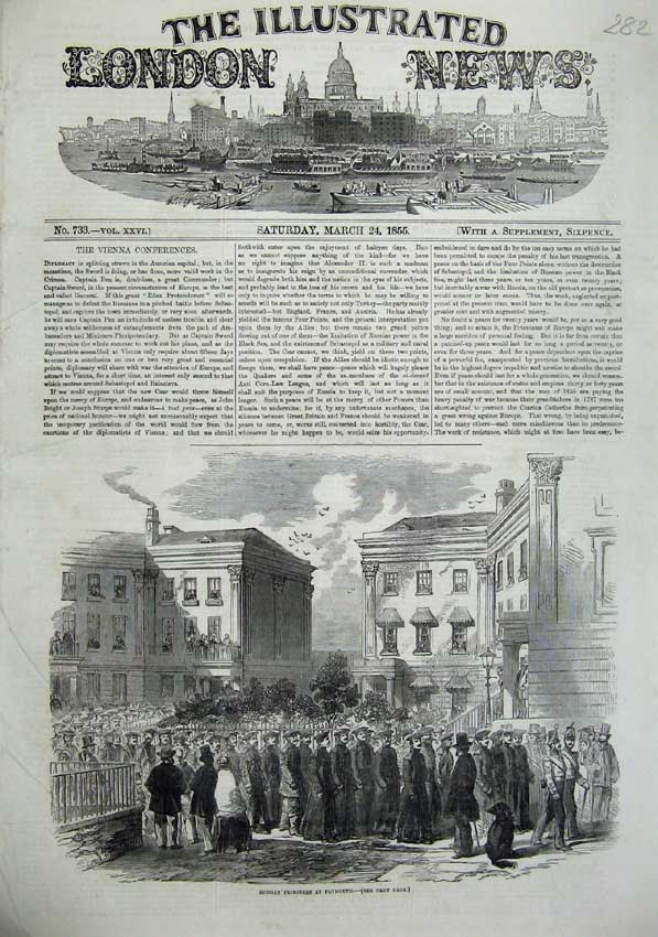 [Print 1855 Scene Russian Prisoners Plymouth War England Army 282N102 Old Original]