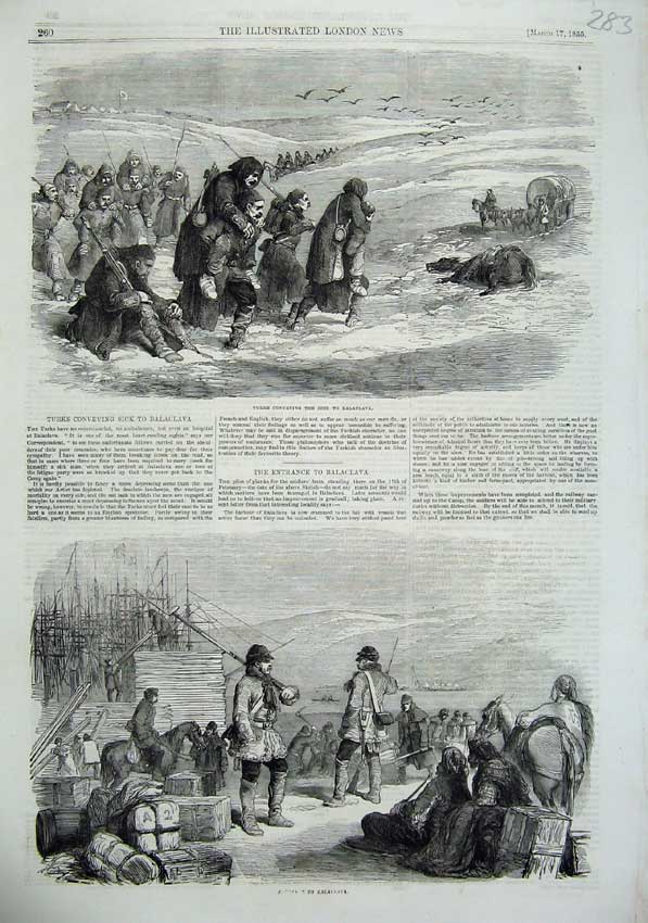 [Print 1855 Turkish Men Sick Balaclava War Army Horses Ships 283N102 Old Original]
