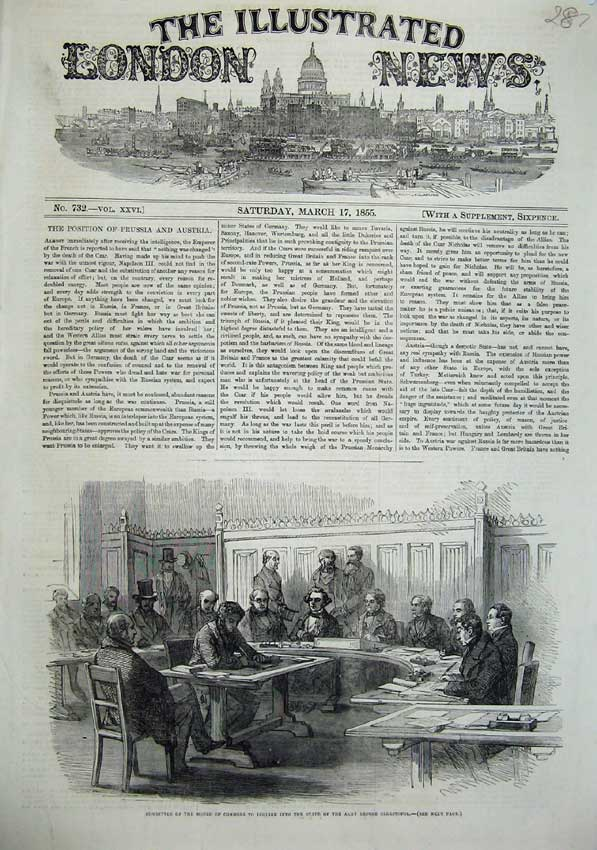 [Print 1855 House Commons Committee Sebastopol War Men 287N102 Old Original]