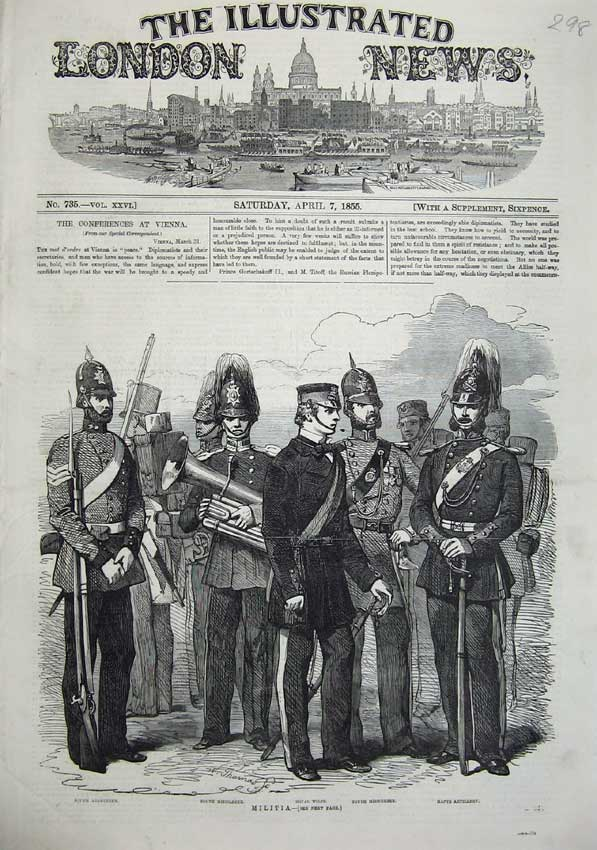 [Print 1855 Army Militia Middlesex Wilts Artillery Uniform War 298N102 Old Original]