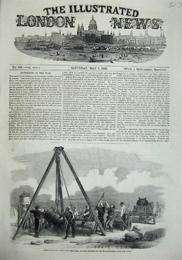 [Print 1855 Siege Train Mounting Mortars War Sebastopol Army 313N102 Old Original]