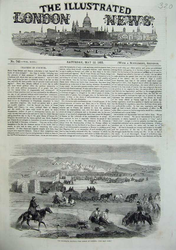 [Print 1855 Balaclava Railway Bazaar Kadikoi War Army Camp 320N102 Old Original]