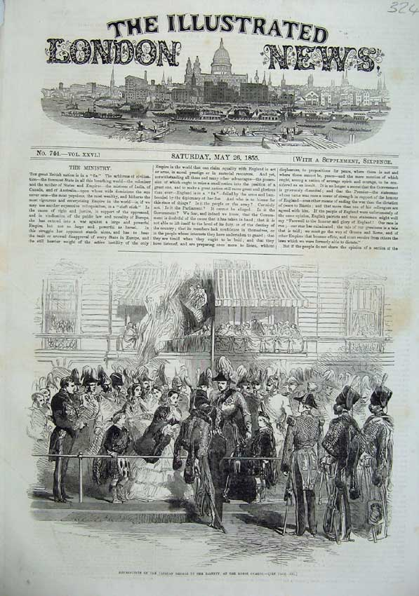 [Print 1855 Crimea Medals Queen Horse Guards Army War 324N102 Old Original]