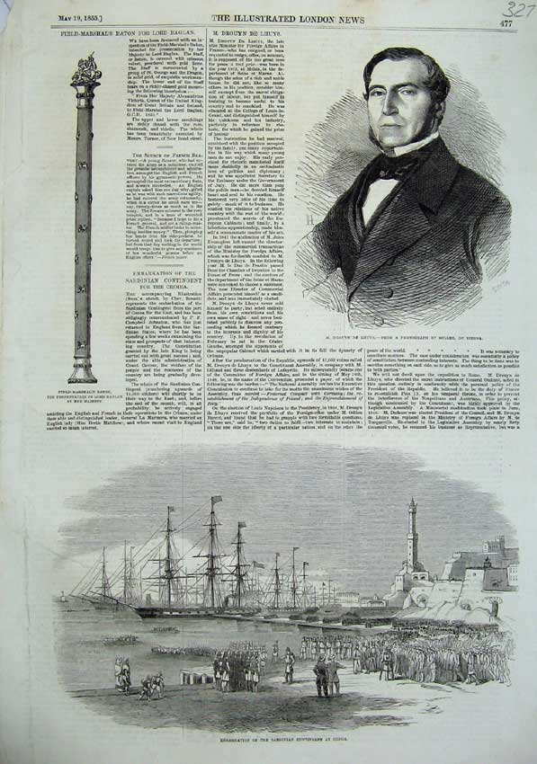 [Print 1855 Sardinian Army Ship Genoa Baton War Drouyn Lhuys 327N102 Old Original]