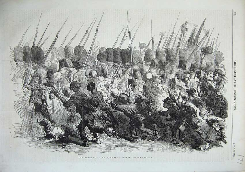 [Print 1856 Army Guards War Weapons People Returning Home 171N103 Old Original]