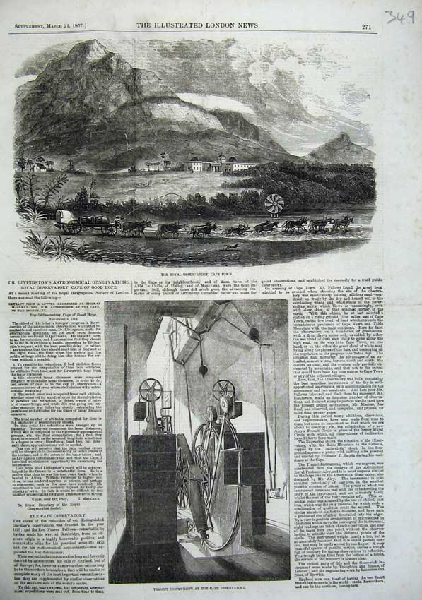 [Print Royal Obervatory Cape Town Africa 1857 Instrument 349N104 Old Original]