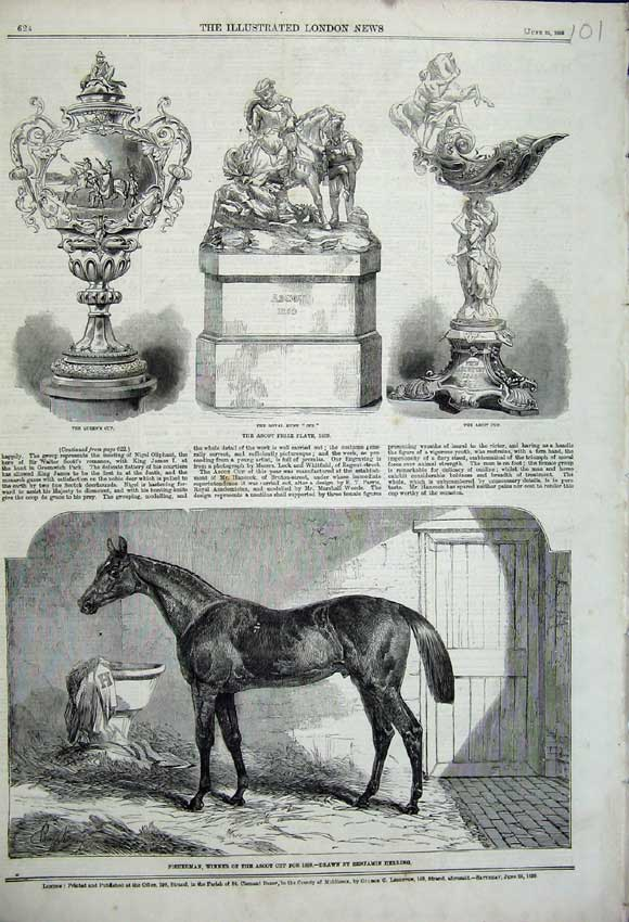 Print 1859 Fisherman Horse Winner Ascot Prize Plate Cup Queen 101N107 Old Original