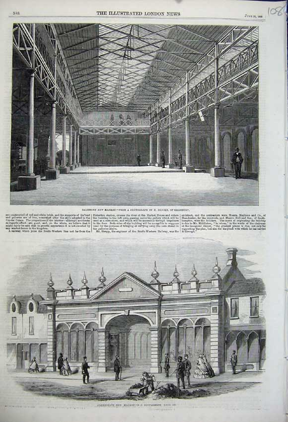 Print 1859 Salisbury New Market Aldershot Brooks Buildings 108N107 Old Original